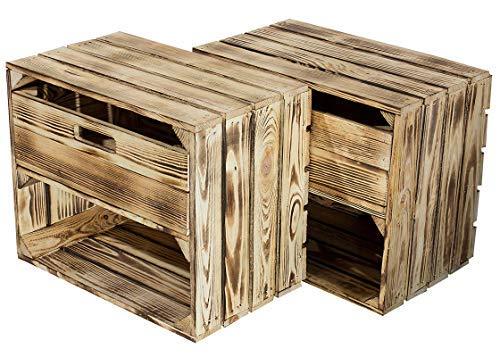 Kontorei® geflammte/verbrannte Kiste mit Schublade und Fach 50cm x 40cm x 30cm 2er Set Regal Holzkiste Obstkiste