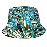 huagu Cappello da Pescatore Unisex,Palm Monstera Seamless Pattern Blu Nero,Cappello da Sole Pieghevole Cappello da Pesca Viaggio Spiaggia Esterno Cappellino Fisherman cap Hat
