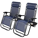 2 Pack Zero Gravity Chair, Folding Lounge Reclining Deck Chaise with Adjustable Headrest Pillows, Cup Holder Tray and Carry Rope for Lawn Poolside Backyard Patio, Beach and Camping Outdoor (Navy Blue)