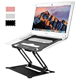 Urmust Laptop Notebook Stand Holder, Ergonomic Adjustable Ultrabook Stand Riser Portable with Mouse Pad Compatible with MacBook Air Pro, Dell, HP, Lenovo Light Weight Aluminum Up to 17'(Black)