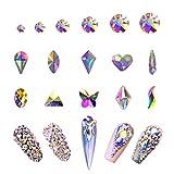 AB Crystal Rhinestones Set 100+1728 Pcs, Round and Multishape AB Glass Rhinestone, Flatback AB Crystals for Nails Clothes Face Jewelry