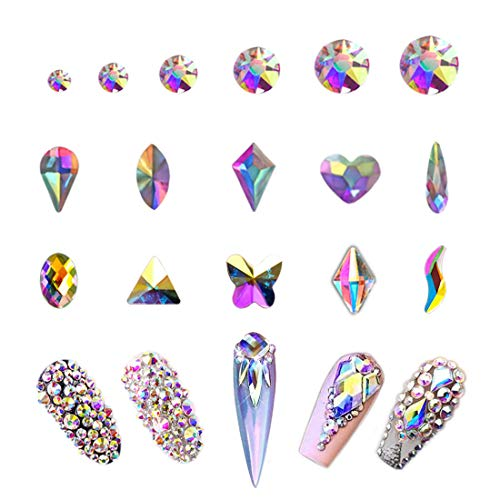 crystal rhinestone for nails AB Crystal Rhinestones Set 100+1728 Pcs, Round and Multishape AB Glass Rhinestone, Flatback AB Crystals for Nails Clothes Face Jewelry