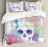 Juego de fundas nórdicas de animales, cabeza de esqueleto de calavera de Halloween con imagen de vida salvaje pirata del acuario de arrecife de coral, juego de cama decorativo de 3 piezas con 2 fundas