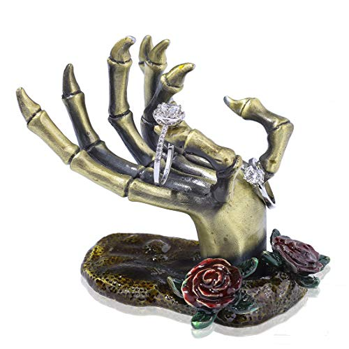 YUFENG Gothic Valentine Rose Skeleton Hand Jewelry Holder Rings Necklaces and Jewellery Accessories Hand Form Display Holders