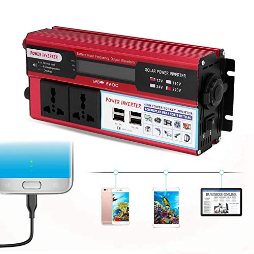 5000W Solar Power Inverter, Car 5000W Solar Power Inverter Pantalla digital Teléfono 4 Cargador USB