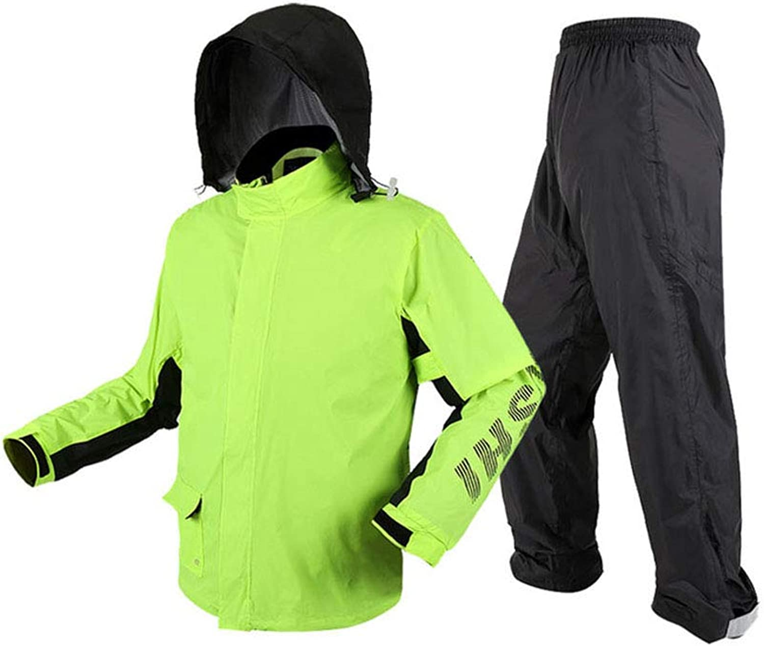 SYRAINCOAT Adult Rainstorm Raincoat Set Split Thicken Waterproof Comfortable Breathable Reusable Fluorescent Green Outdoor Sports Lightweight Rainwear