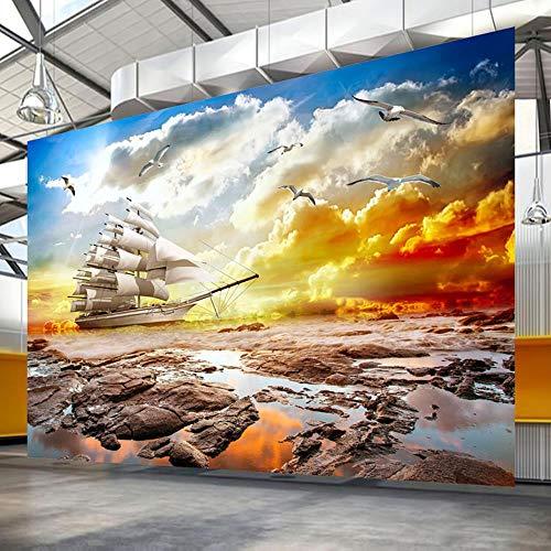 MAZF Papel De Parede Personalización Personalizada Hermosa Puesta del Sol Paisaje Mural Papel Pintado para Sala Dormitorio Papel de Pared