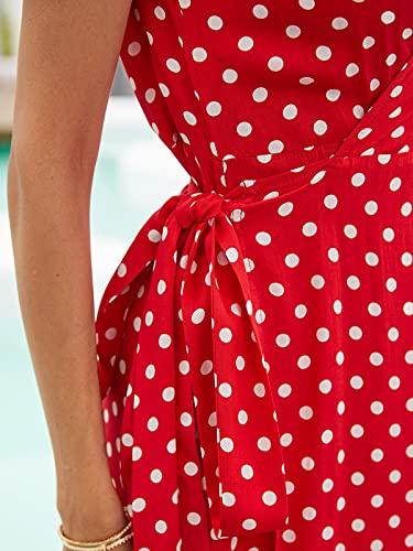 ACHIOOWA Mujer Vestido Elegante Casual Playa Bohemio Dress Lunares Cuello V Manga Corta Escote Fiesta Cóctel Falda Larga Rojo-646313 XXL