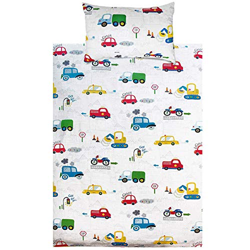 KEAYOO Parure de lit 100% Cotton Linge de lit pour bébé (40 x 60 Taie d'oreiller et Housse de Couette 100x135) (Voiture)