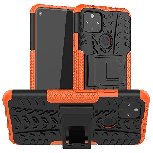 BeyondTop Hülle Rugged Armor für Google Pixel 4a 5G/Pixel 5 XL Handyhülle Stoßfest & Kratzfeste mit Ständerfunktion Rückseite Schutzhülle für Google Pixel 4a 5G/Pixel 5 XL-Orange