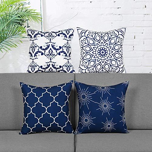 Alishomtll 4er Set Dekorative Kissenbezüge Outdoor Kissenbezug Zierkissenbezug Muster Kissenhülle für Sofa Zimmer Polyester 45 x 45 cm, Blau