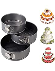 JAPP Round Aluminium Non-Stick Backing Cake Moulds Pan Can be Used in Microwave Ovens (Black) - Set of 3