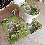Juego de alfombras de baño de 3 piezas,Madre Hierba Verde Ovejas...