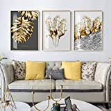 Nordic Golden Abstract Blatt Blume Leinwand Gemälde