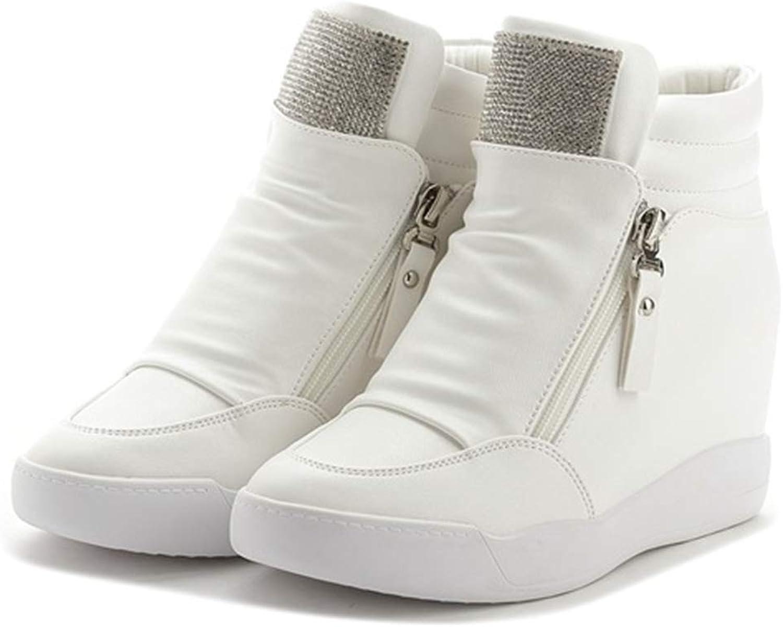 Btrada Women Platform Hidden Wedges Height Increasing Trainers shoes Zipper Bling Sequin Ankle Sneakers