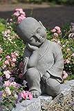 Figur Shaolin Mönch denkend - für Haus und Garten - Höhe 42 cm - grau