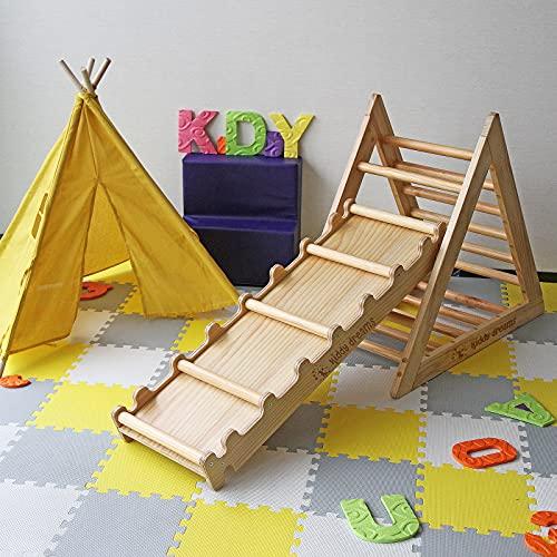 CCLIFE Kletterdreiecke nach Pikler Art Holz Indoor für Babys Kinder Kleinkinder Aktivspielzeug natürliche ungiftige Farbe, Farbe:Rutsche(Ohne Dreieck)