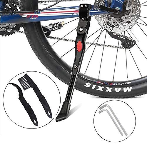 "GNAWRISHING Bike Kickstand, Adjustable Middle Install Side Kickstand Alloy Kick Stand Fit 20"" to 26"" Mountain Bike Road Bike Sport Bicycle, with 2 Bike Chain Cleaner Tool"
