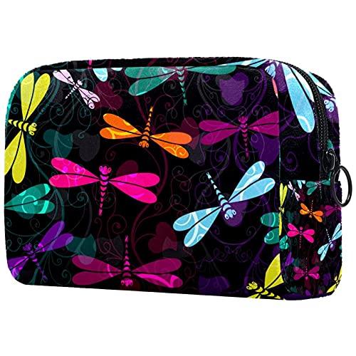Bolsa de maquillaje de viaje de diseño único bolsa de maquillaje para mujeres y niñas hermosa libélula