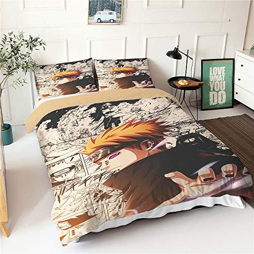 Meiju Duvet Cover Set Super Soft Comic Cartoon Man Boys Print 3pcs, Microfiber Bedding Set Easy Care Single Double King Size Quilt Covers Pillowcases (Naruto-Pain,180x220cm)