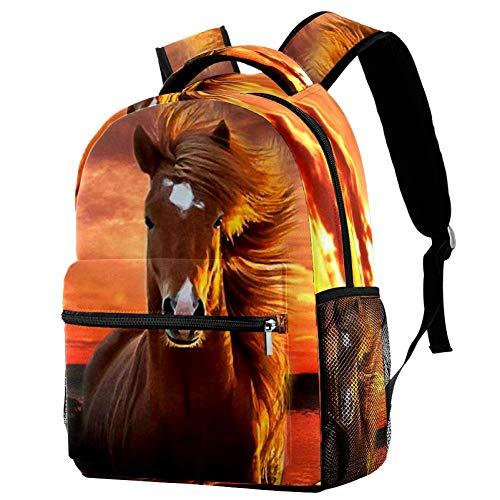 Zaino per Bambini Sera Blaze Horse Zaino Scuola Unisex Cartella Impermeabile Per la Scuola Elementare Media College 29.4x20x40cm