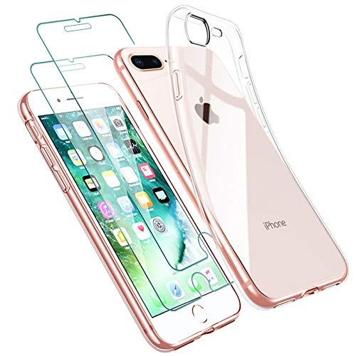 Zsmzzd Funda para iPhone 7 Plus, iPhone 8 Plus+ 2 Pcs Protector de Pantalla iPhone 7+ / 8+ Vidrio Templado, Suave TPU Silicona Transparente Carcasa + Cristal Templado para iPhone 7 Plus / 8 Plus