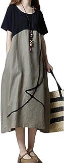 FSSE Women Contrast Cotton Linen Summer Loose Fit Short Sleeve Midi Dress