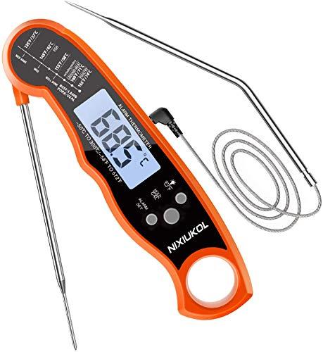 NIXIUKOL Termometro Digitale da Cucina con 2 sonde Lunghe Pieghevoli, termometro da Cucina con Lettura istantanea, LCD retroilluminato, termometro per Caramelle per Grill, Barbecue, Latte (Arancione)