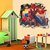 H/A Angel-U 3D Effect Hero Spiderman Through Wall Stickers for Kids Room Wall Art Decor Cartoon PVC Broken Wall Decals DIY Posters Gifts Angel-U (Color : Multicolor)