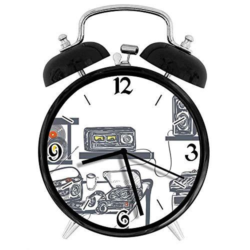 77 xiochgzish Despertador Digital Estudio de grabación con Dispositivos de música Tocadiscos Registros Altavoces Cadete Digital Adecuado para Estudio de Dormitorio de Oficina