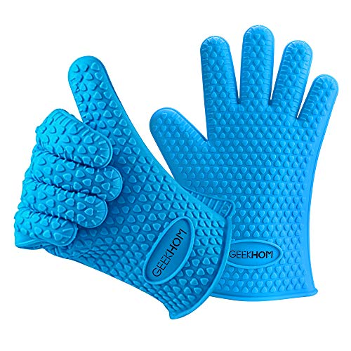 GEEKHOM Oven Gloves for Baking Waterproof Silicone Oven Mitts Heat Resistant Flexible BBQ Gloves for Barbecue Grilling Cooking Outdoor and Indoor Blue