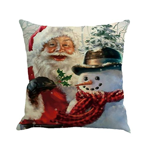Christmas Pillow Cases, Boomboom Christmas Cotton Linen Sofa Car Home Waist Cushion Covers (B)