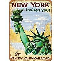 メタルティンサインニューヨークはあなたを旅行に誘います-20x30cm