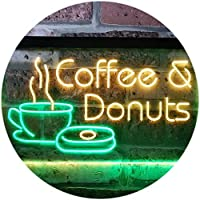 Coffee and Donuts Kitchen Shop Plaque Dual Color LED看板 ネオンプレート サイン 標識 緑色 + 黄色 400 x 300mm st6s43-i0310-gy