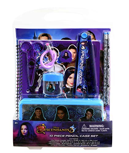 DESCENDANTS 3 Stationery Set with Portfolio Folder, Notebook, Pencil Case, Ruler, Pencils & More, Cute Set of Back to School Supplies, Disney Birthday Party Supplies for Kids - 10 pc Set