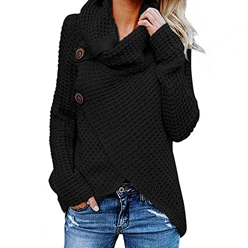 Ropa de Mujer Jersey Pullover Mujer Jersey Dobladillo Asimétrico Suéter Irregular Collar de la Pila Tops Abrigo Entretiempo Mujer Negro/Blanco/Armada/Vino/Caqui/Ejercito Verde/Azul O Oscuro S~Xxxl