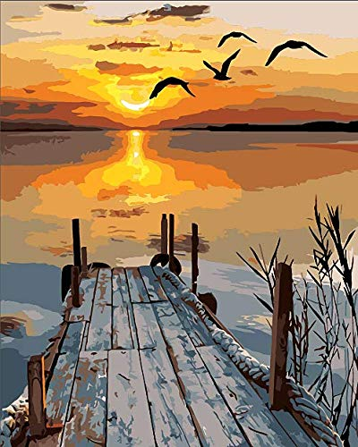 DIY Paint by Numbers for Kids & Adults Beginner,Canvas Oil Painting Arts and Crafts Kit- Dawn