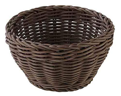 "APS Cesta redonda ""Profi Line"", cesta de mimbre marrón oscuro, cesta de polipropileno, canasta de mimbre, cesta para panecillos, cesta para alimentos, Ø 16 cm, altura: 8 cm"