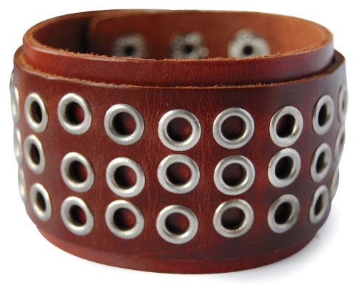 Cinturino in pelle largo axy iggle LAB1 -4! Vera Cinturino in pelle Vintage Leather ying-yang! Surfer Bracciale Uomo, colore: Braun/ Brown