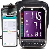 1byone Tensiómetros de brazo Bluetooth, Pantalla LCD, detección del pulso arrítmico, almacena hasta 120 lecturas para 2 usuarios-Negro