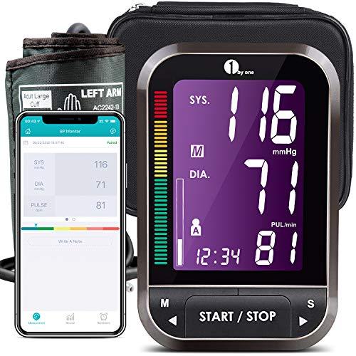 1byone Blutdruckmessgerät Oberarm Bluetooth, Wireless Digitale Oberarm-Blutdruckmessgeräte mit Arrhythmie-Erkennung und Pulsmessung