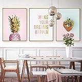 EDGIFT2 Nueva Fruta plátano piña Rosa Creativo inglés Lienzo Pintura Arte Abstracto impresión Cartel Imagen Pared decoración del hogar 50x70 cm sin Marco