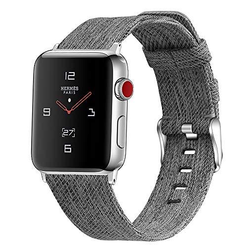 Paquete de 2 bandas de lona compatibles con Apple Watch Band 38 mm 40 mm, correa de repuesto de tela compatible con iWatch Series 6 5 4 3 2 1 SE Sport, negro y gris