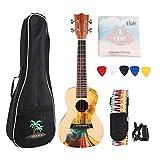 Ukelele PortáTil, 23 En Ukelele de Madera de Abeto de Caoba, Set de 4 Cuerdas De Guitarra Hawaii Ukelele de Concierto Maravilloso Regalo Musical para Principiantes y Amantes del Ukelele