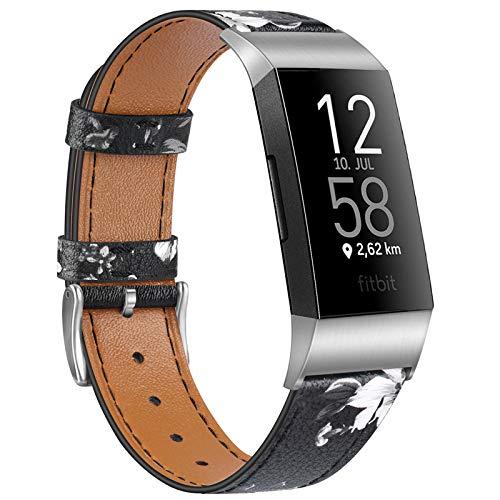 """Wanme Kompatibel mit Fitbit Charge 4 Armband Fitbit Charge 3 Armband, Lederarmband Edelstahl Schnalle Ersatzarmbänder für Fitbit Charge 3 und Fitbit Charge 4 (Graue Blume, 5.5""""-8.1"""")"""