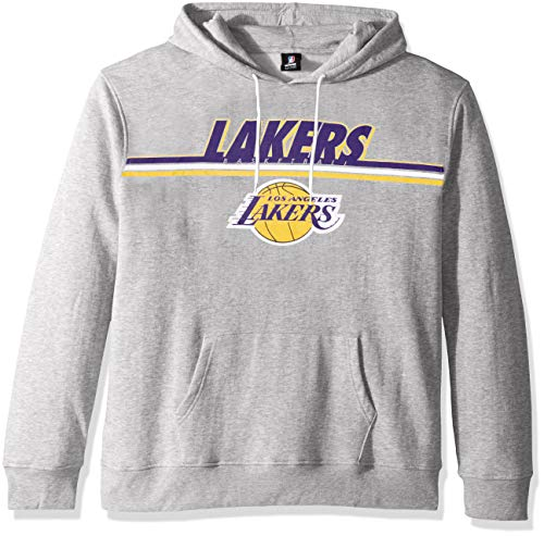 Ultra Game NBA Los Angeles Lakers Mens Fleece Hoodie Pullover Sweatshirt Out Of Bounds, Heather Gray, Medium