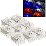 Light Up Building Bricks (8 Count Set) - Red, White, Blue Blocks w/ On/Off & Dim Ability - Compatible w/ All Major Brands