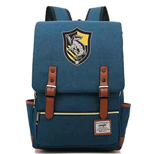 Bolsa de Libros para nios Mochila con Insignia de Harry Potter de Moda 7~15 Grado Bolsa para Estudiantes de Secundaria Hufflepuff Army Blue