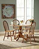 International Concepts 5 Piece 42' Dual Drop Leaf Pedestal Table with 4 Windsor Chairs, Cinnamon/Espresso