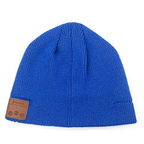YI WORLD Smart Casquette Bluetooth Beanie (oreillette Bluetooth Hat) Fil Casque Music Hat Microphone intégré Répondre aux appels, Blue